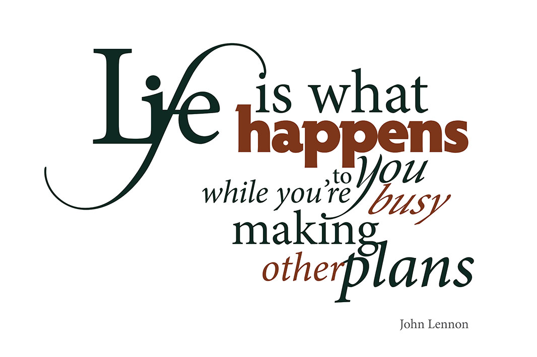 Typography Quote:<br>Life is...<br>by John Lennon